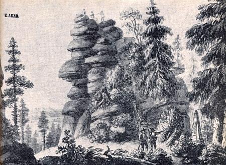 Vrchol Třístoličníku na reprodukci grafického listu, který je v majetku Adalbert-Stifter-Verein a jímž scenérii zachytila kněžna Pauline zu Schwarzenberg (1774-1810) podle předlohy Ferdinanda Runka - mramorový obelisk dole vpravo je hraniční kámen se znaky tří zde sousedících zemí