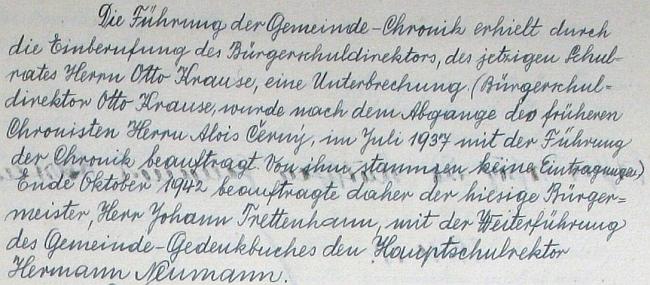 Jeho první a poslední zápis na stránkách hartmanické kroniky, ve kterém předává její vedení zpět Josefu Maderovi