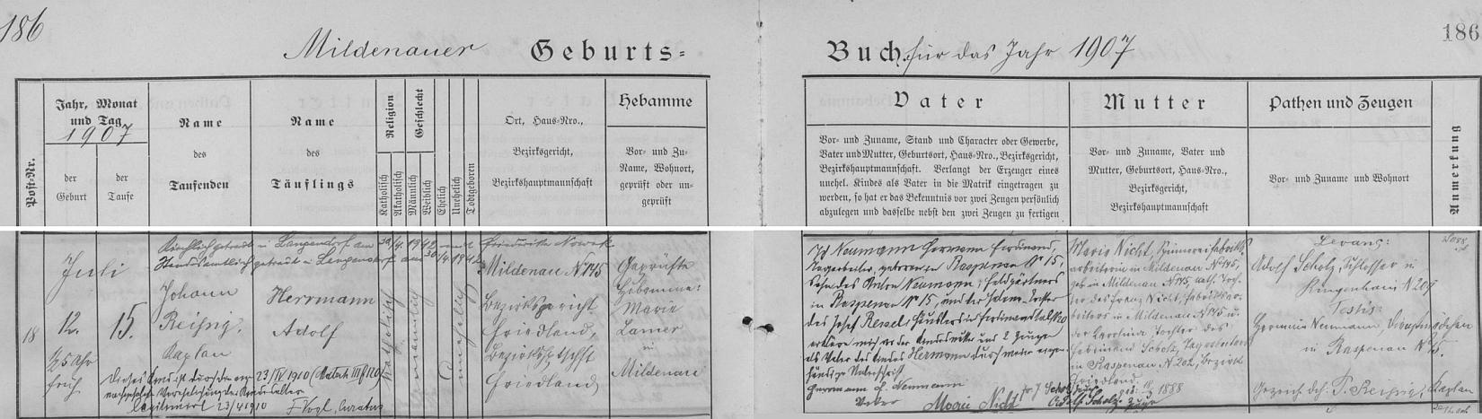 """Záznam o jeho narození v """"mildenavské"""" křestní matrice, z něhož se dovídáme, že přišel na svět jako nemanželské dítě Marie Nichtové (*18. března 1888 v Mildenavě čp. 145), dělnice přádelny v Mildenavě, katolické dcery Franze Nichta, továrního dělníka z Mildenavy čp. 145, a Karoliny, dcery Ferdinanda Scholze, nádeníka z Raspenavy čp. 202 - """"legitimizován"""" byl pak až skoro tříletý matčiným sňatkem 23. dubna roku 1910 s Hermannem Ferdinandem Neumannem (*25. března 1885 v Raspenavě čp. 15), nádeníkem z Raspenavy čp. 15 (synem Antona Neumanna, zahradníka /Feldgärtner/ z Raspenavy čp. 15, a Helene, dcery Josefa Ressela, chalupníka ve Ferdinandově /Ferdinandstal/ čp. 20), který se tu v křestní matrice za otce na vlastnoručním přípise prohlašuje před matkou dítěte a dvěma svědky"""