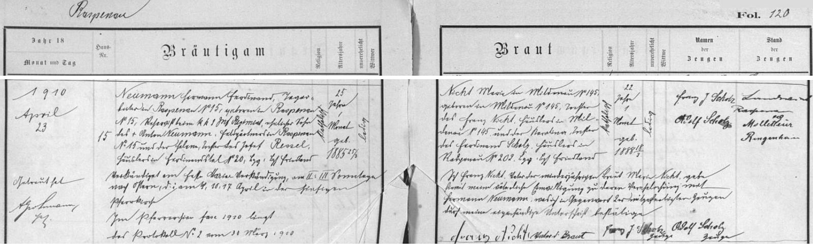Záznam o svatbě rodičů v raspenavské knize oddaných