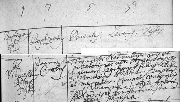 """Podle tohoto latinského záznamu českokrumlovské křestní matriky se tu v Široké ulici čp. 89 kloboučníku Franzi Neumüllerovi (zde příjmení psáno """"Neumiller"""") narodil 3. listopadu roku 1755 syn Johannes Karl (""""Joannes Carolus"""") někdy kolem pěti let po příchodu Neumüllerových do města"""