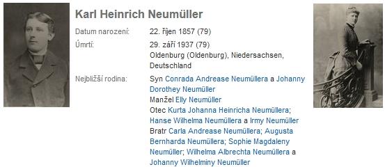 Snímek a data Karla Heinricha Neumüllera na genealogickém webu a snímek jeho manželky Anny Ellisabeth, roz. Eilersové - všechny snímky a data vložil na genealogické webové stránky Carl Fredrik Hjalmar Neumüller