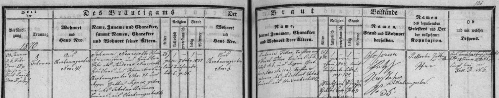 Záznam o svatbě jeho rodičů v oddací matrice farní obce Horní Pěna