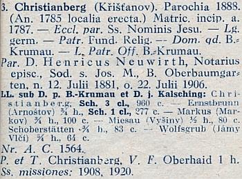 Záznam o něm jako křišťanovském faráři v diecézním katalogu