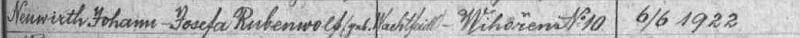 V indexu oddací matriky obce Záblatí nacházíme i záznam o svatbě jeho rodičů Johanna Neuwirtha a Josefy, roz. Rubenwolfové ze zaniklých dnes Hruštic (Wadetstift) dne 6. června 1922 v Hlásné Lhotě čp. 10