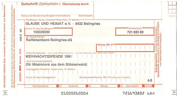 """Peněžní poukázka vložená v Glaube und Heimat a určená pro """"vánoční dar 1991"""" ve prospěch """"misionářů ze Šumavy"""""""
