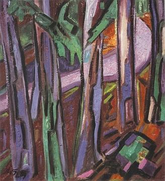 Jeho obraz s názvem Lesní cesta v šeru
