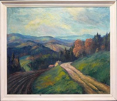 Olejomalba na plátně s názvem Bavorský les