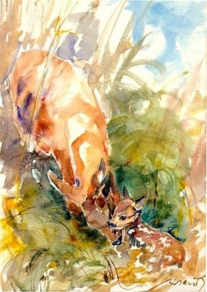 """Jeho akvarel s názvem """"Ihr Erstes"""", tj. """"Její první"""""""