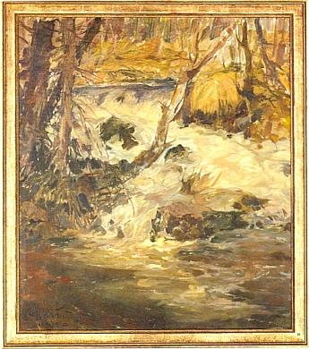 """Další jeho olejomalba zachycuje Studenou Vltavu u rodného Nového Údolí a nese název """"Die Junge Moldau"""""""