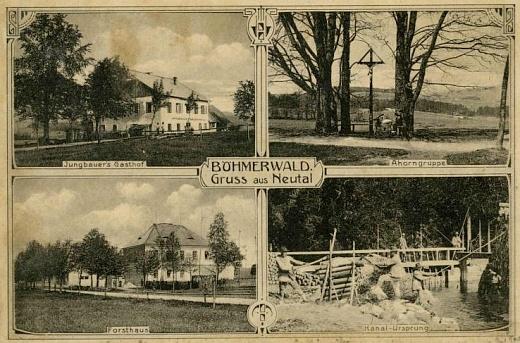 Nové Údolí, dvě pohlednice s rodnou myslivnou