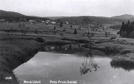 Studená Vltava u Nového Údolí, pohlednice, foto Franz Seidel