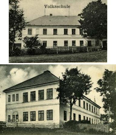 Škola v Nových Hutích na výřezech ze starých pohlednic...