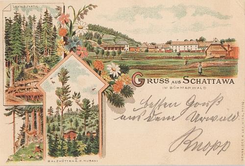 Dvě pohlednice ze Zátoně, odkud pocházeli oba jeho rodiče