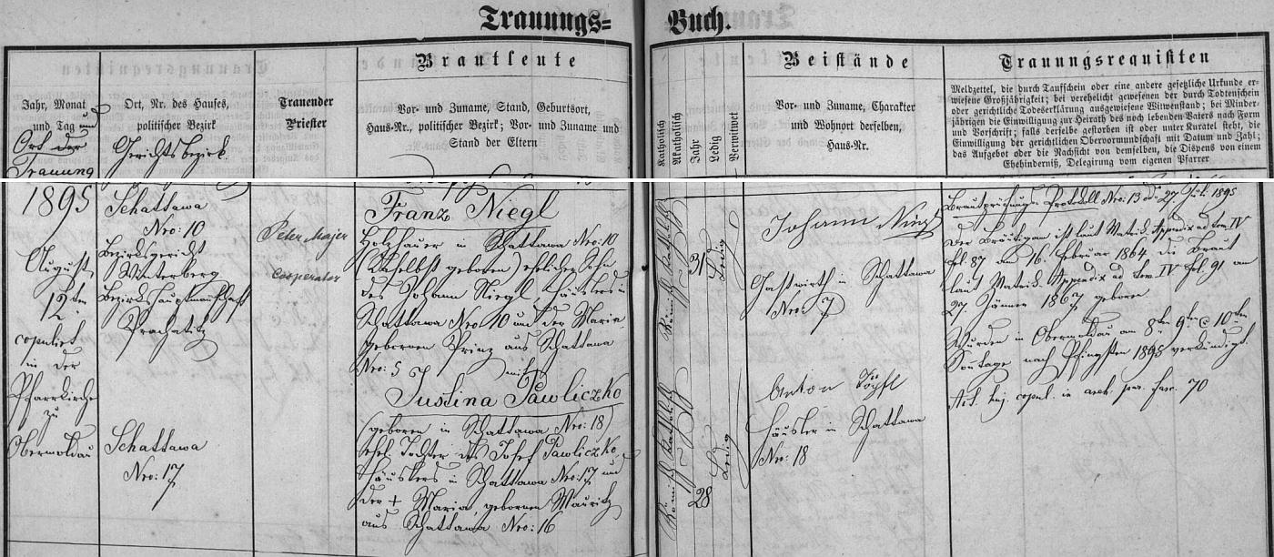 Záznam hornovltavické oddací matriky o zdejší svatbě jeho rodičů