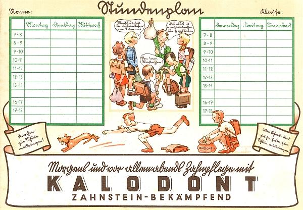 Rozvrh hodin, používaný žáky německých obecných škol ve třicátých letech 20. století