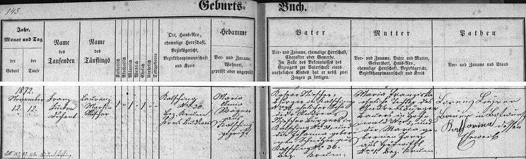 Záznam v chvalšinské matrice o jeho narození a křtu ještě téhož dne jmény Laurenz aMartin - v domě čp. 30 byl otcem novorozencovým Kaspar Niescher (i děd Andreas byl v tom domě usedlý), matkou Maria Franziska, roz. Bürgerová, rodem z Havaldy (Hochwald), babička z matčiny strany byla z Hořiček