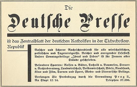 "Inzerát listu ""Deutsche Presse"" ve slavnostním sborníku k 50. výročí Böhmerwaldbundu"