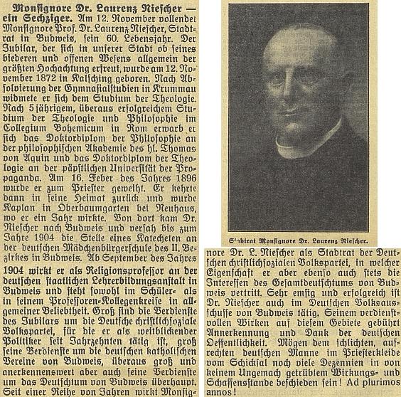 O tom, jak velké vážnosti se zejména u německy mluvící veřejnosti těšil, svědčí článek k jeho šedesátinám na stránkách budějovického německého tisku