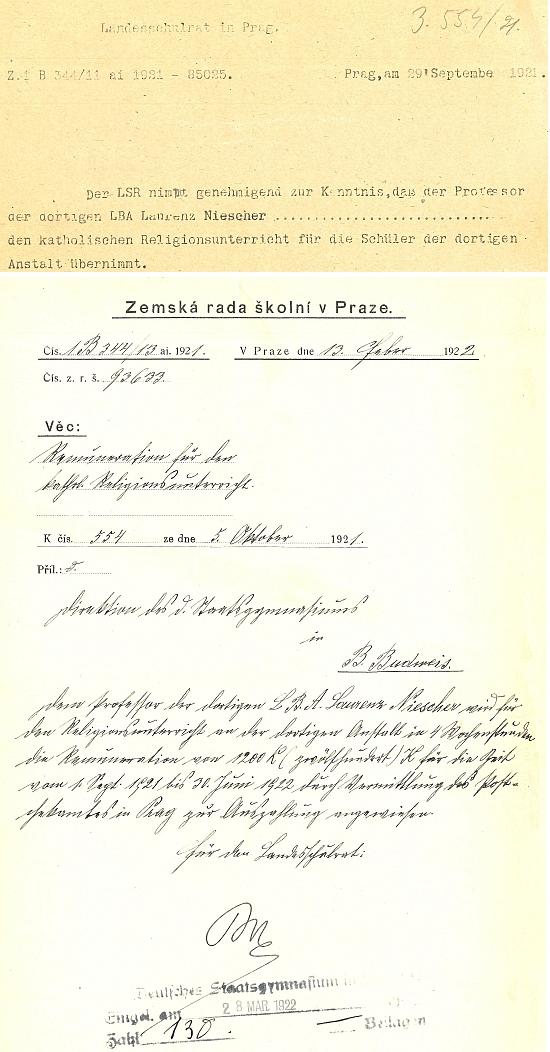 Tyto dokumenty dokládají, že učil náboženství ve školním roce 1921/22 i na českobudějovickém německém gymnáziu - za úvazek 4 hodiny týdně dostal celkem 1200 korun