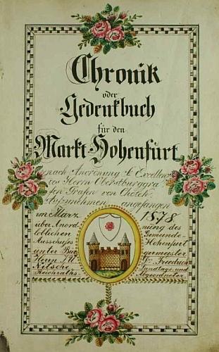 Titulní list vyšebrodské obecní kroniky, založené vbřeznu roku 1878 za jeho starostování
