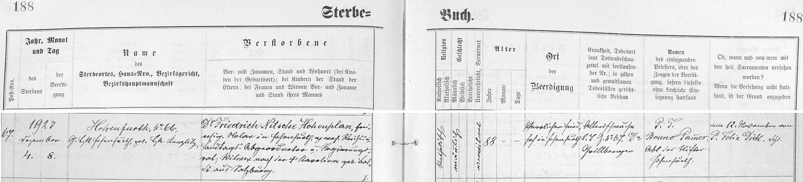 Index vyšebrodské matriky zachycuje datum jeho úmrtí v roce 1923