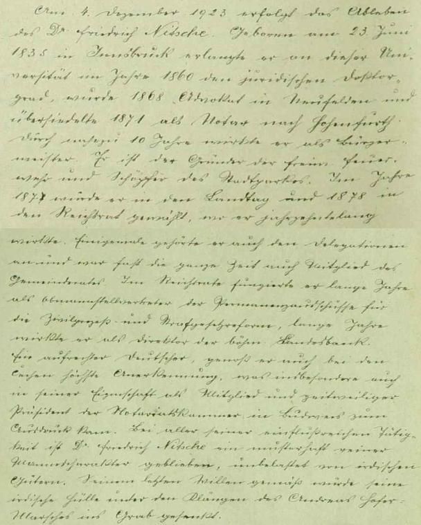 Zpráva o jeho skonu a pohřbu v pamětní knize města Vyšší Brod