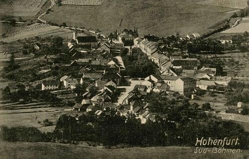 Městečko Vyšší Brod na pohlednici Josefa Seidela
