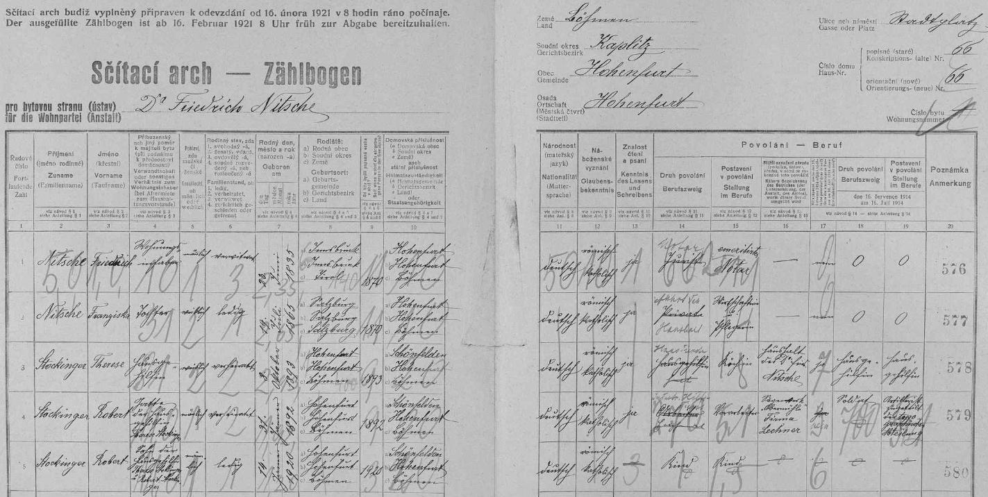 """Arch sčítání lidu z roku 1921 pro vyšebrodský dům čp. 66, kde žil ovdovělý Dr. Friedrich Nitsche s dcerou Franziskou a rodinou """"domácí pomocnice"""" Therese Stockingerové"""