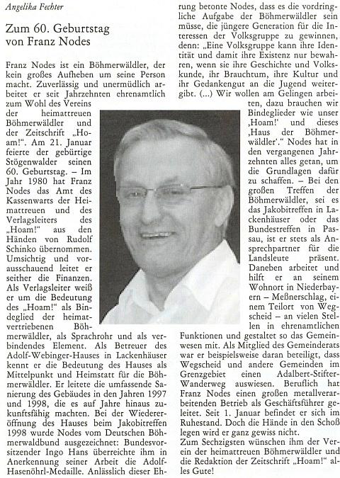 Článek k jeho šedesátinám v krajanském měsíčníku