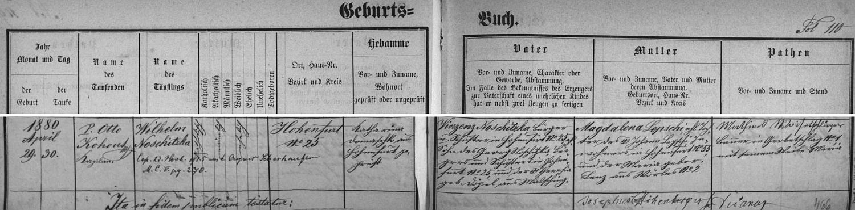 Záznam vyšebrodské křestní matriky o narození otcově dne 29. dubna roku 1880 a křtu den nato, který provedl kaplan Otto Kohout: novorozencův otec Vinzenz Noschitzka provozoval stejně jako jeho otec Georg Noschitka vsynově rodném domě čp. 25 krejčovské řemeslo, babička z otcovy strany Theresia byla roz. Döpelová z Malšína (Malsching), chlapcova matka Magdalena byla dcerou Johanna Lepschiho z Vyššího Brodu čp. 55 a jeho ženy Marie, roz. Lenzové z Ostrova (Wörles) čp. 2, pozdější přípis nás pak zpravuje o svatbě Wilhelma Noschitzky dne 23. listopadu roku 1915 s Agnes Scherhauferovou
