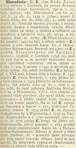 Heslo Eisenštein v Ottově slovníku naučném (1894)