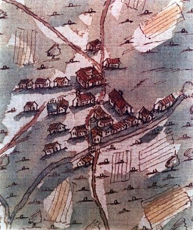 """Na jediném dosud známém zobrazení (jeho autorem se stal roku 1708 mnichovský zeměměřič Matthias Bauer) dřevěného ještě kostela Panny Marie (stavení s věžičkou uprostřed), zřízeného v Železné Rudě roku 1694, vidíme za ním i """"vierkant"""" panského domu hraběte Notthaffta, vpravo od něj s komínem zdejší sklářskou huť a také tok Řezné s mostem na cestě do Zwieselu"""