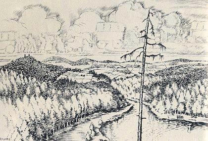 Tato kresba nazvaná Austreibung (Vyhnání) vznikla roku 1945 během vazby Rudolfa Nowaka mladšího v Klatovech, kde ho dostihly první zprávy o chystaném odsunu Němců