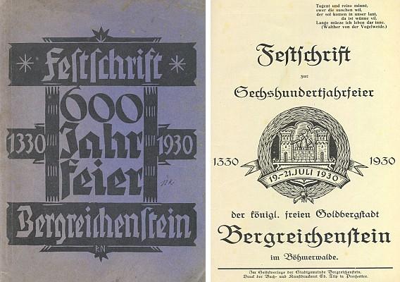 Obálka (1930) a titulní list sborníku k 600. jubileu města v úpravě Rudolfa Nowaka dva roky před jeho smrtí