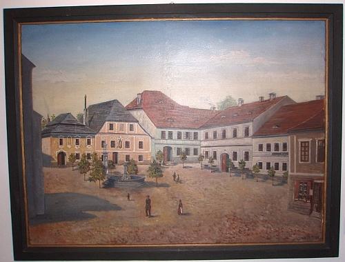 Jeho olejomalba z roku 1908 zachycuje tehdejší stav části kašperskohorského náměstí, kde v ulici za farou bydlela kdysi i rodina Klostermannova