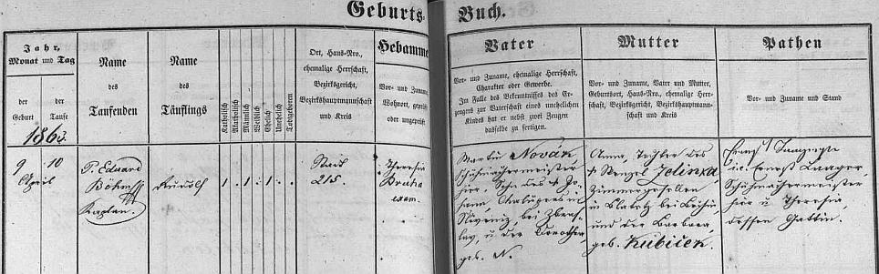 """Německy psaný záznam v českobudějovické matrice uvádí příjmení Novák psané česky, matka Anna byla roz. """"Zelinka"""", babička z její strany pak """"Kubiček"""""""