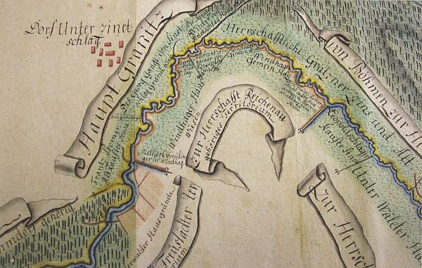 """Dolní Příbrání na kolorované mapě z roku 1805, zachycujíví polohu vsi u tzv. """"hlavní"""",  tj. zemské hranice při řece Malši"""