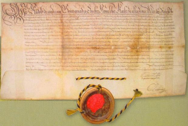 Listina s císařskou pečetí, povyšující roku 1584 Rejštejn na královské horní město