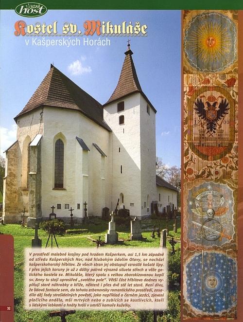 Úvod textu o hřbitovním kostele sv. Mikuláše v Kašperských Horách i s detaily jeho trámového stropu ze stránek časopisu Vítaný host