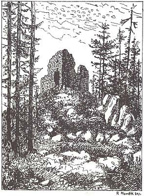 Pustý hrádek u Kašperka na signované kresbě Nowaka seniora
