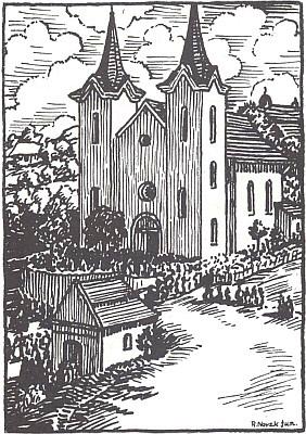 Poutní kostel Panny Marie Sněžné v Kašperských Horách na signované kresbě Novaka (zde s jednoduchým v!) juniora