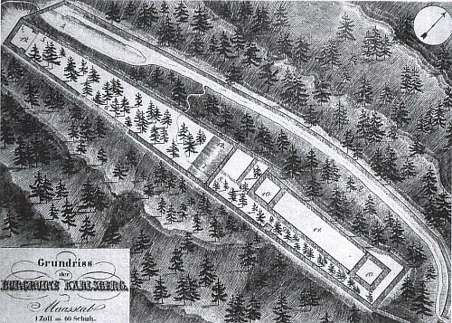 Půdorys hradu Kašperk podle Franze Alexandra Hebera (1815-1849)