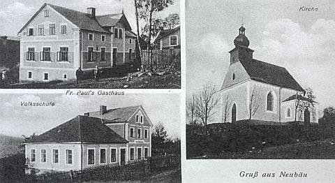 Dvě staré pohlednice ze zaniklých Novosedel (Neubäu)