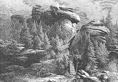 ... a šumavský Hochstein na grafice Vojtěcha Brechlera - z té hory prý kdysi obzíral Šumavu Adalbert Stifter