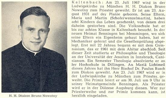 O jeho primici v bavorském Mnichově 23. července roku 1967