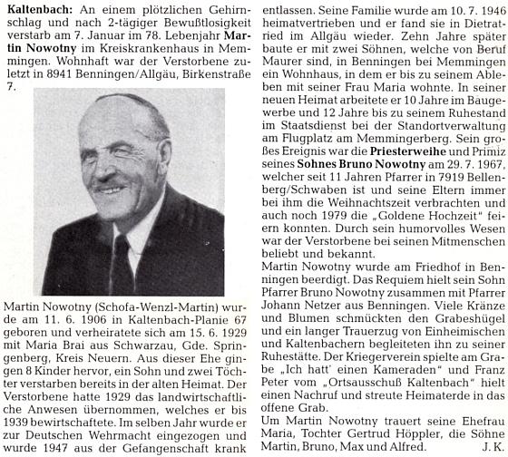 Nekrolog jeho otce na stránkách krajanského měsíčníku, jehož autorem je Josef Kufner