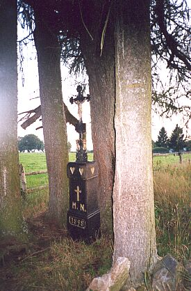 Kříž na místě, kde stával v místní části Nových Hutí zvané Planie jeho rodný dům...