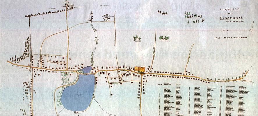 Plánek obce Železná, která měla v roce 1939 1600 obyvatel