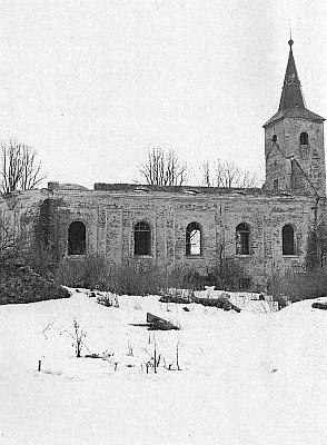 Kostel sv. Barbory v Železné, zničený v roce 1965...